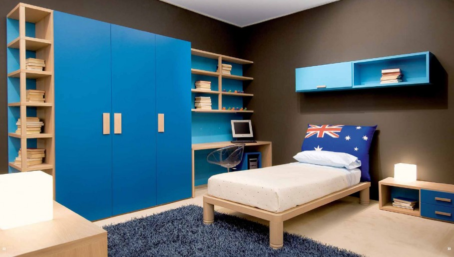 stunning-black-kids-room-paint-ideas-matched-with-blue-bedroom-interior-with-white-single-bed-and-nightstand-plus-night-lamp-completed-with-cupboard-combined-with-desk